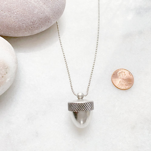 Silver Acorn Locket Necklace