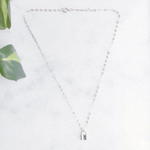 Sterling Silver Padlock Charm Necklace