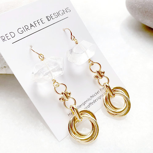 Quartz and Gold Knot Earrings
