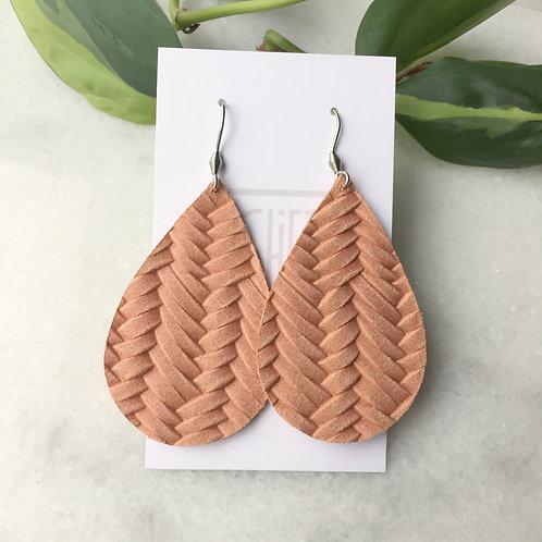 Peach Leather Petal Earrings