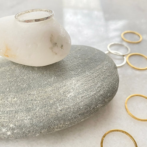 Antiqued Sterling Silver Hammered Stacking Ring