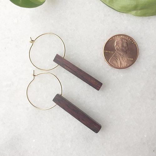 Gold Filled Hoop + Reclaimed Wood Earrings