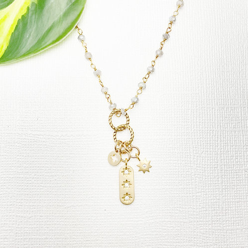 Labradorite Rosary Chain with Shiny Charms Necklace