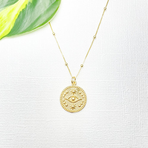 Gold Satellite Chain with Evil Eye Charm