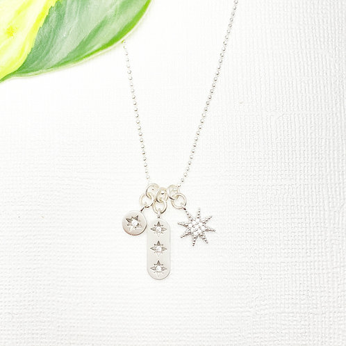 Sterling Silver Sparkly Stars Charms Necklace