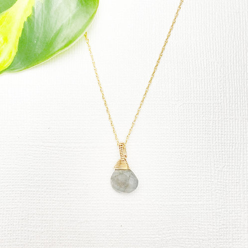 Labradorite Stone Gold Filled Necklace