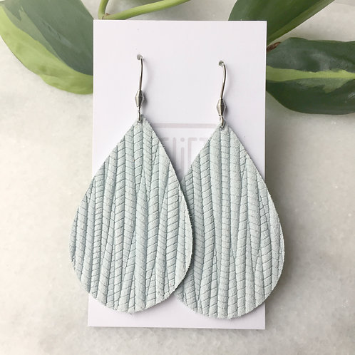 Icy Blue Leather Petal Earrings