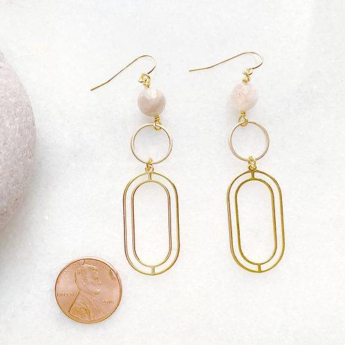 Gold Long, Deco-Style Geometric Earrings
