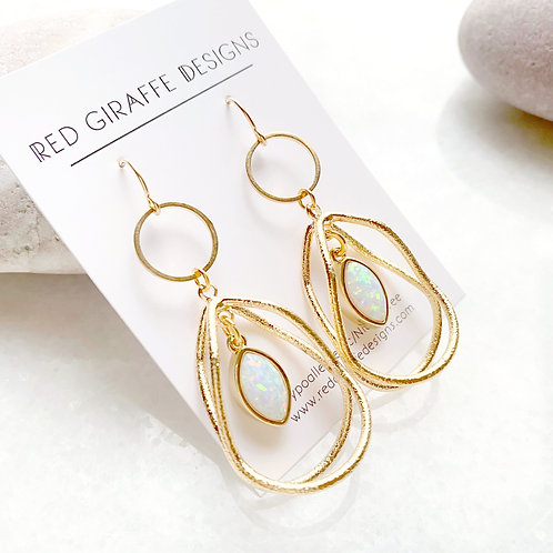 Gold and Faux Opal Earring