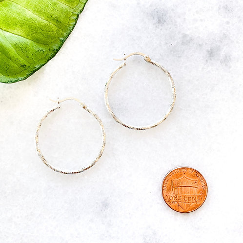 Classic Sterling Silver Textured Hoop