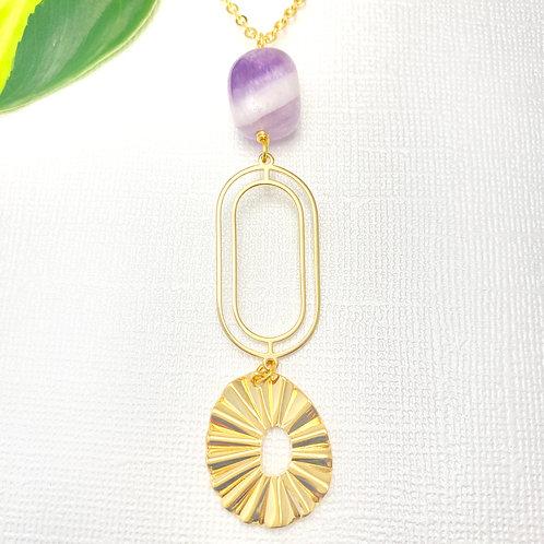 Long Amethyst Pendant Necklace
