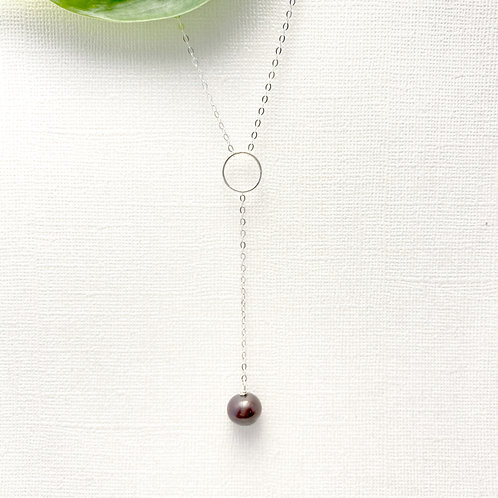 Sterling Silver Necklace with a Freshwater Tahitian Pearl Drop