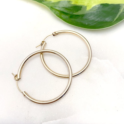 "Large 1.5"" Gold Filled Hoops"