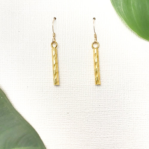 Spiral Grooved Gold Earrings