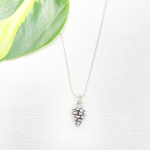 Sterling Silver Pinecone Charm Necklace