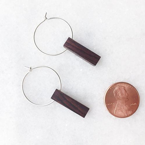 Sterling Silver Hoop + Reclaimed Wood Earrings