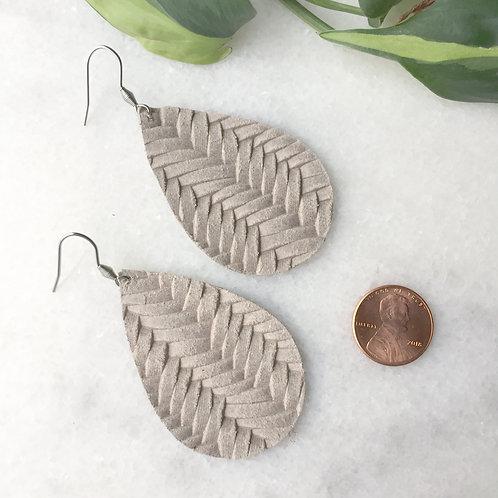 Taupe Leather Petal Earrings