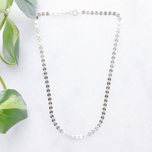 Sterling Silver All Disc Chain Necklace