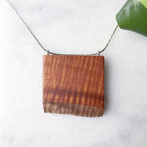 Raw Edge Hawaiian Koa Pendant Necklace