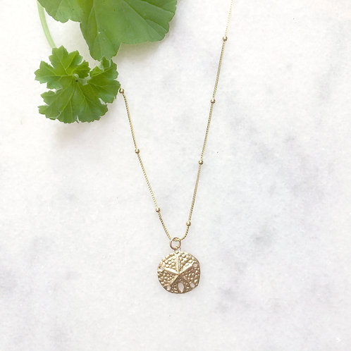 Gold Filled Satellite Chain with Sand Dollar Charm