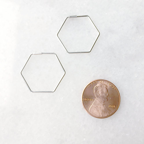 Minimalist Sterling Silver Hexagon Hoops