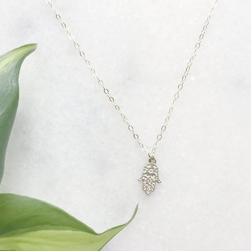 Sterling Silver Hamsa Charm Necklace