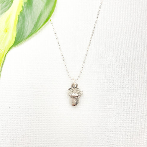 Sterling Acorn Charms Necklace