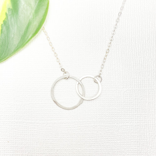 Double Rings Sterling Silver Necklace