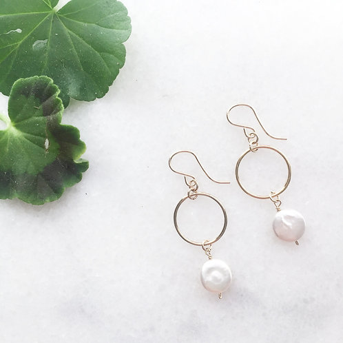 Gold Filled coin Pearl Hoop Earrings
