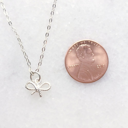 Sterling Silver Tiny Bow Charm Necklace