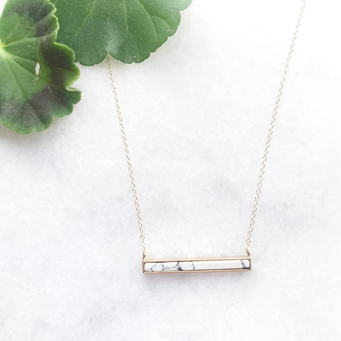 Marble Inlay Bar Necklace