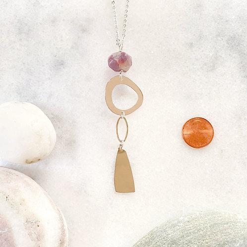 Long Purple Opaline Pendant Necklace
