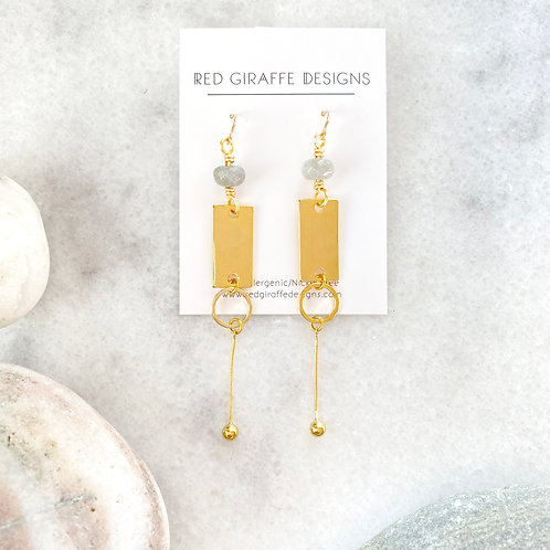 Gold Long, Long Geometric Earrings