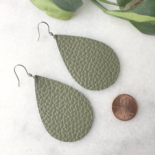 Olive Leather Petal Earrings