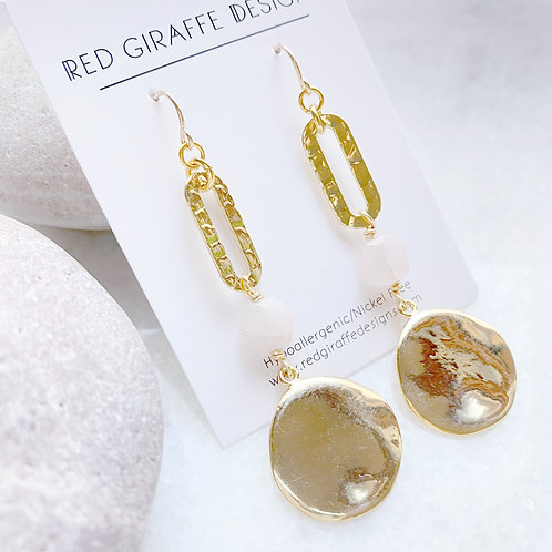 Gold Long,  Geometric Earrings with Quartz Accent
