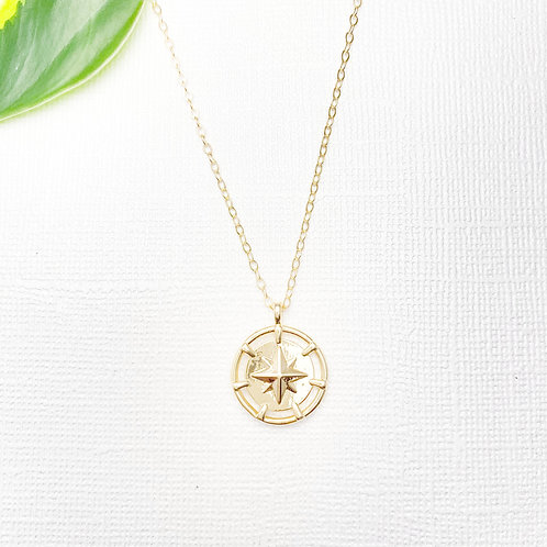 Dainty Gold-filled Compass Necklace