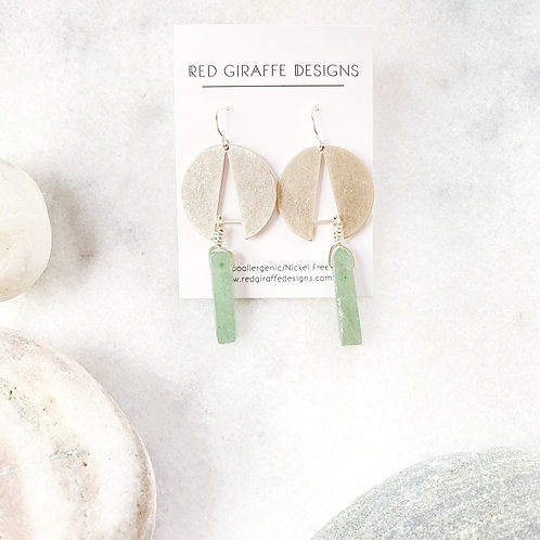 Antiqued Silver Geometric Earrings with Green Agate