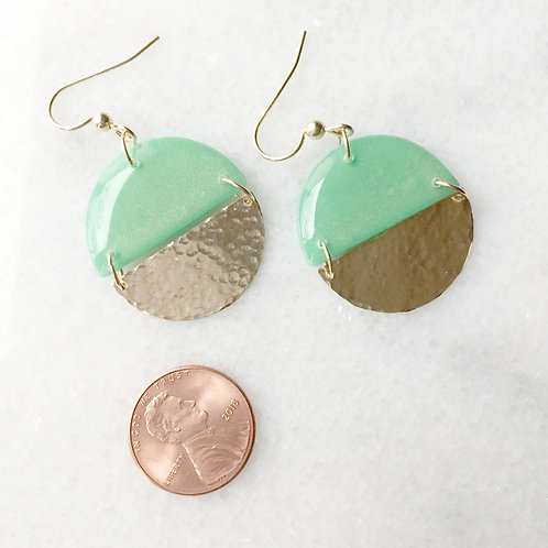 Jade + Gold Half Circle Earrings