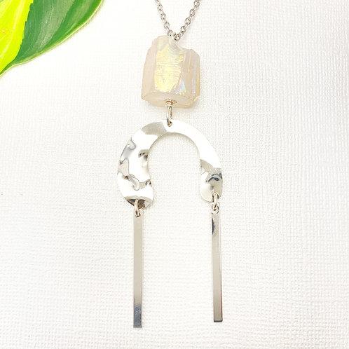 Long Iridescent Quartz Pendant Necklace