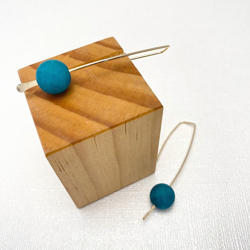 Long Staple + Amazonite Bead Earrings