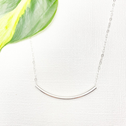 Sterling Silver Curved Tube Dainty Necklace