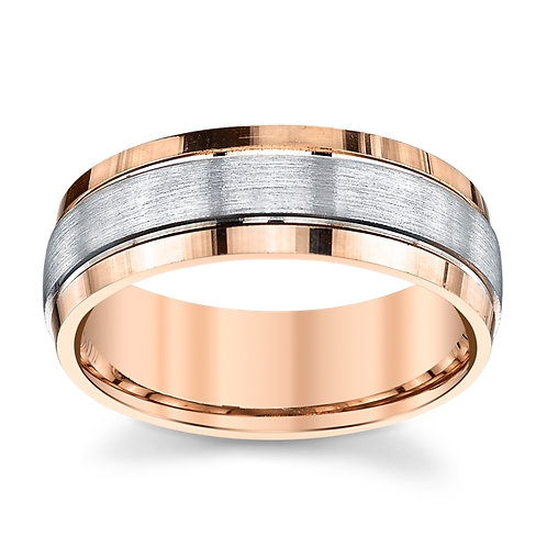 Novell 18K Rose Gold and Platinum Wedding Band
