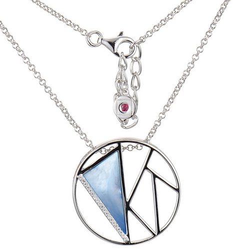 ELLE Jewelry Charisma Sterling Silver Blue Mother of Pearl Circle Necklace