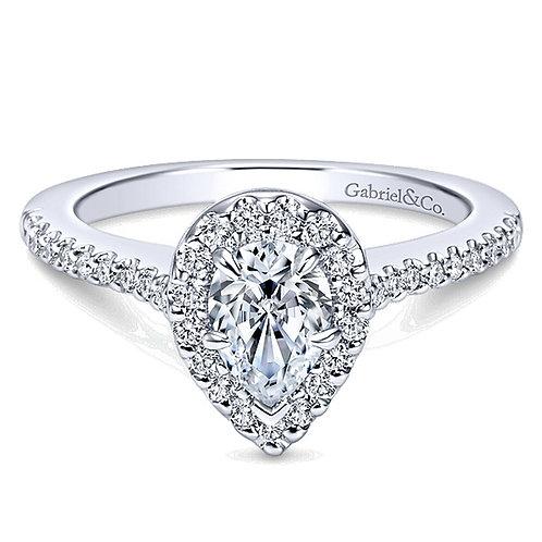Gabriel & Co. Paige 14k White Gold Pear Shape Halo Engagement Ring