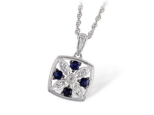 Allison Kaufman 14k White Gold Sapphire and Diamond Necklace