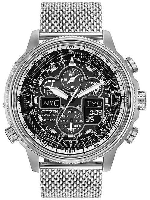 Citizen Men's Chronograph Navihawk Eco-Drive Stainless Steel Mesh Bracelet Watch