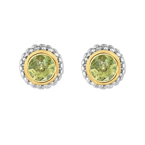 Sterling &Yellow Gold Peridot Earrings