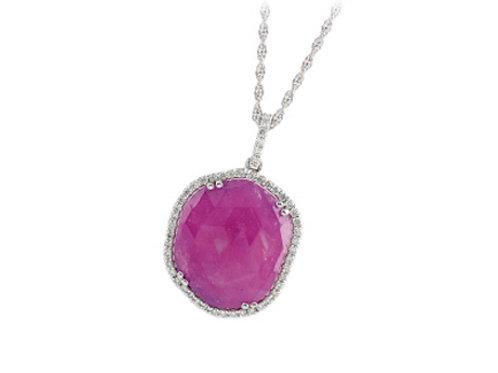 Allison Kaufman 14k White Gold Pink Sapphire and Diamond Necklace