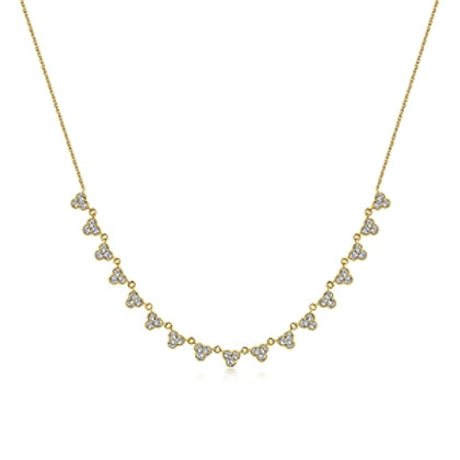 Yellow Gold Scallop Diamond Necklace