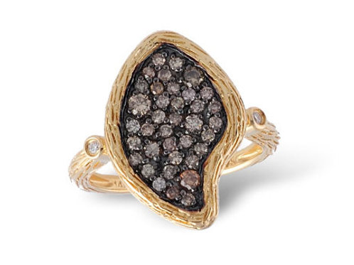 Allison Kaufman 14k Yellow Gold and Brown Diamond Fashion Ring